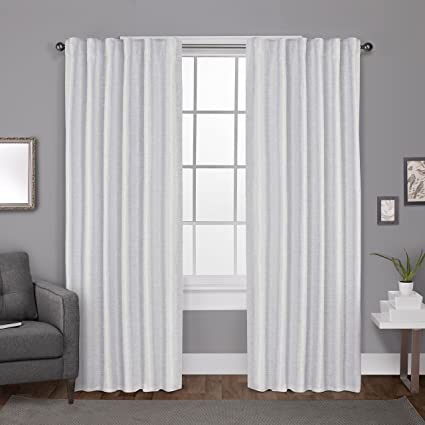 Exclusive Home Zeus Solid Textured Jacquard Blackout Back Tab Curtain Panel Pair, Winter White, 52x96, 2 Piece