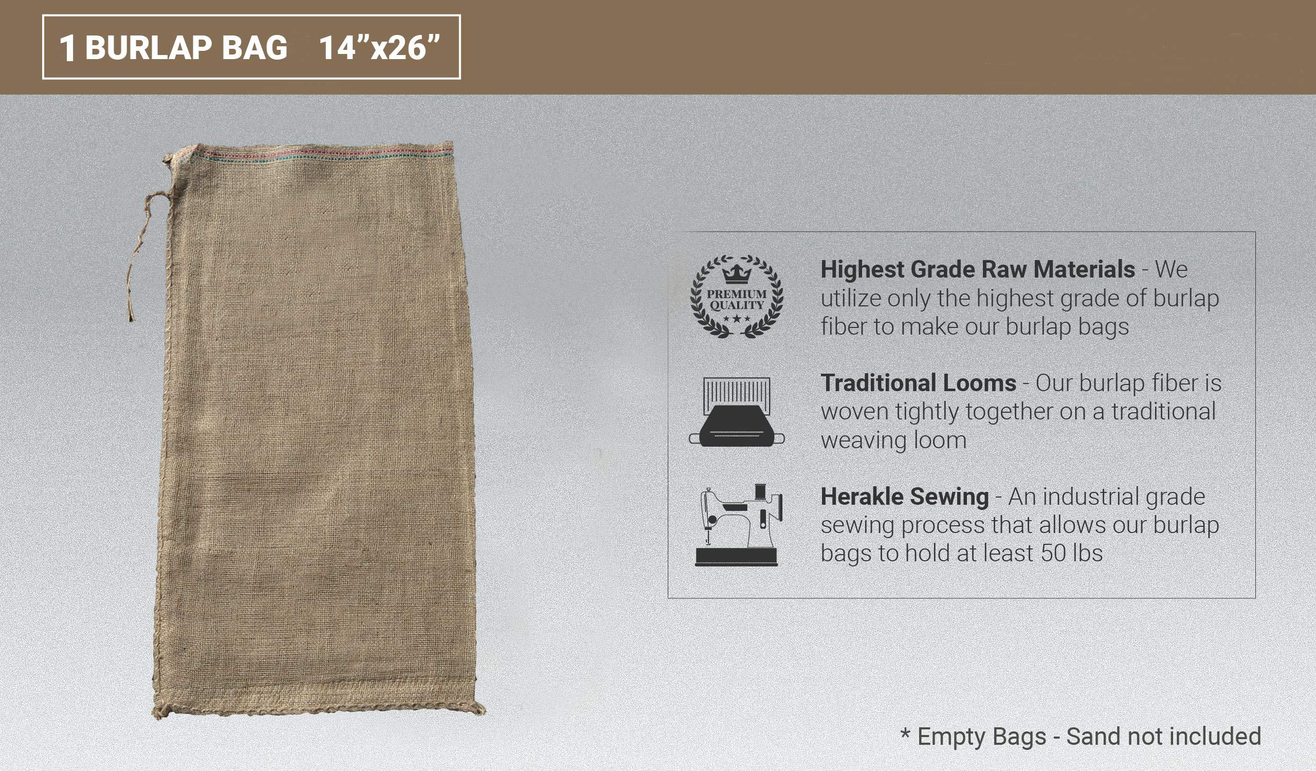 Sandbaggy Burlap Sand Bag - Size: 14'' x 26'' - Sandbags 50lb Weight Capacity - Sandbags for Flooding - Sand Bag - Flood Water Barrier - Water Curb - Tent Sandbags - Store Bags (1 Bags) by Sandbaggy (Image #2)