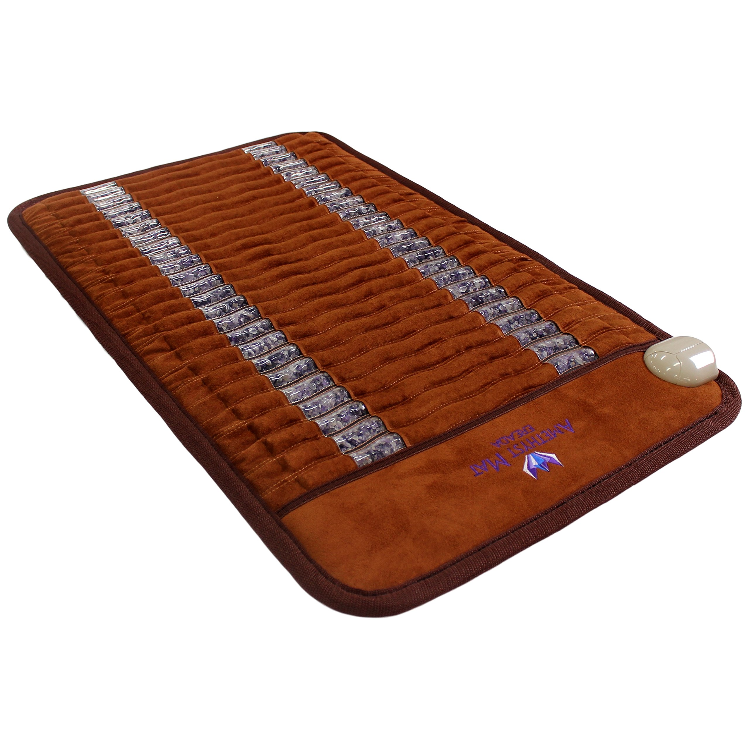"Far Infrared Amethyst Mini Mat 31''L x 20""W - Made in Korea - Deep Penetration FIR Heat - Ion Therapy - Jewelry Grade Natural Amethyst - FDA Registered Manufacturer - Portable Heating Pad with Crystals by Bio Amethyst"