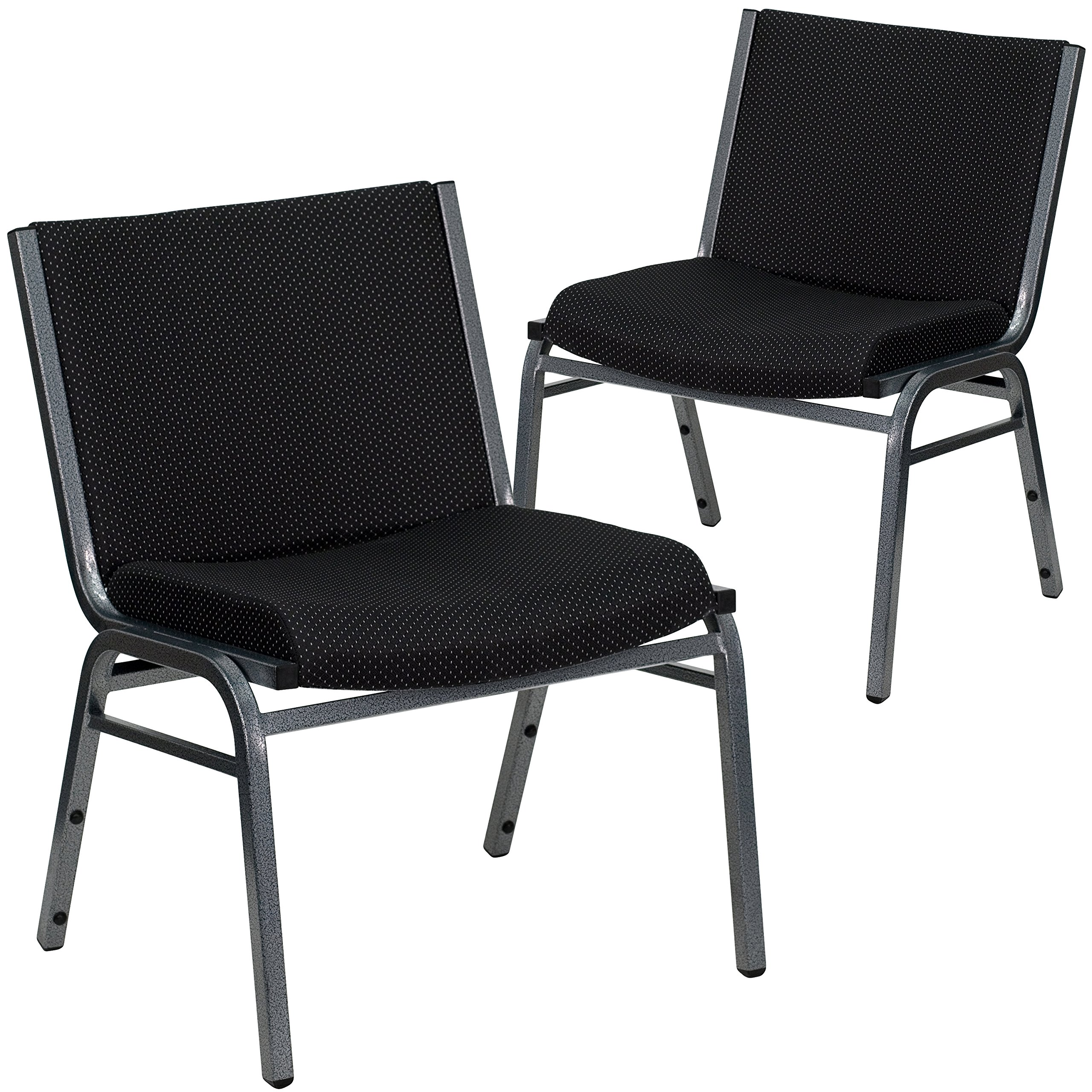 Flash Furniture 2 Pk. HERCULES Series Big & Tall 1000 lb. Rated Black Fabric Stack Chair by Flash Furniture