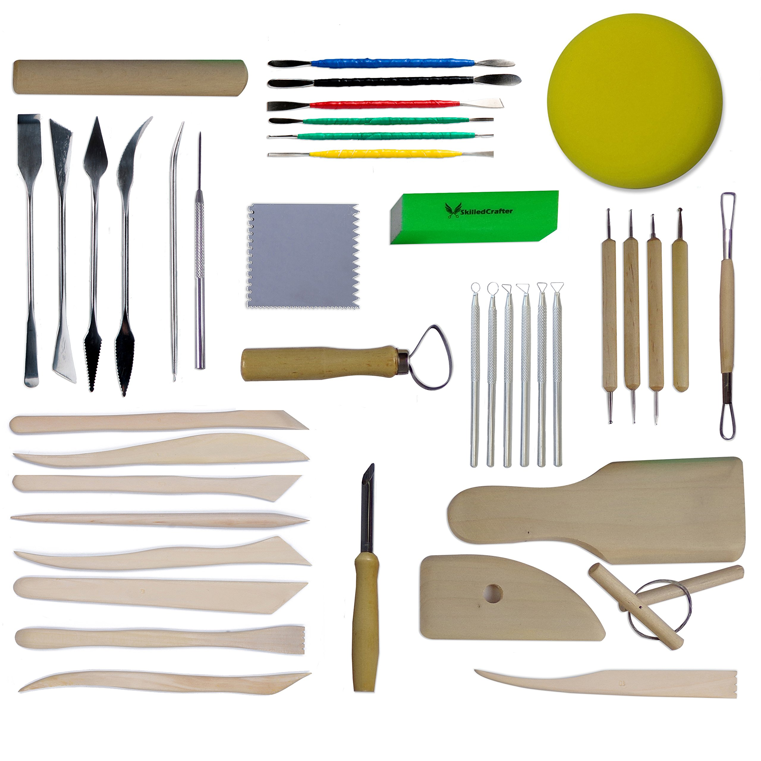 Skilled Crafter Clay Sculpting Tools. 42 Piece Set for Modeling & Detailing, and Ideal for Work on a Potters Wheel. Includes Free Sponge & Needle Tool