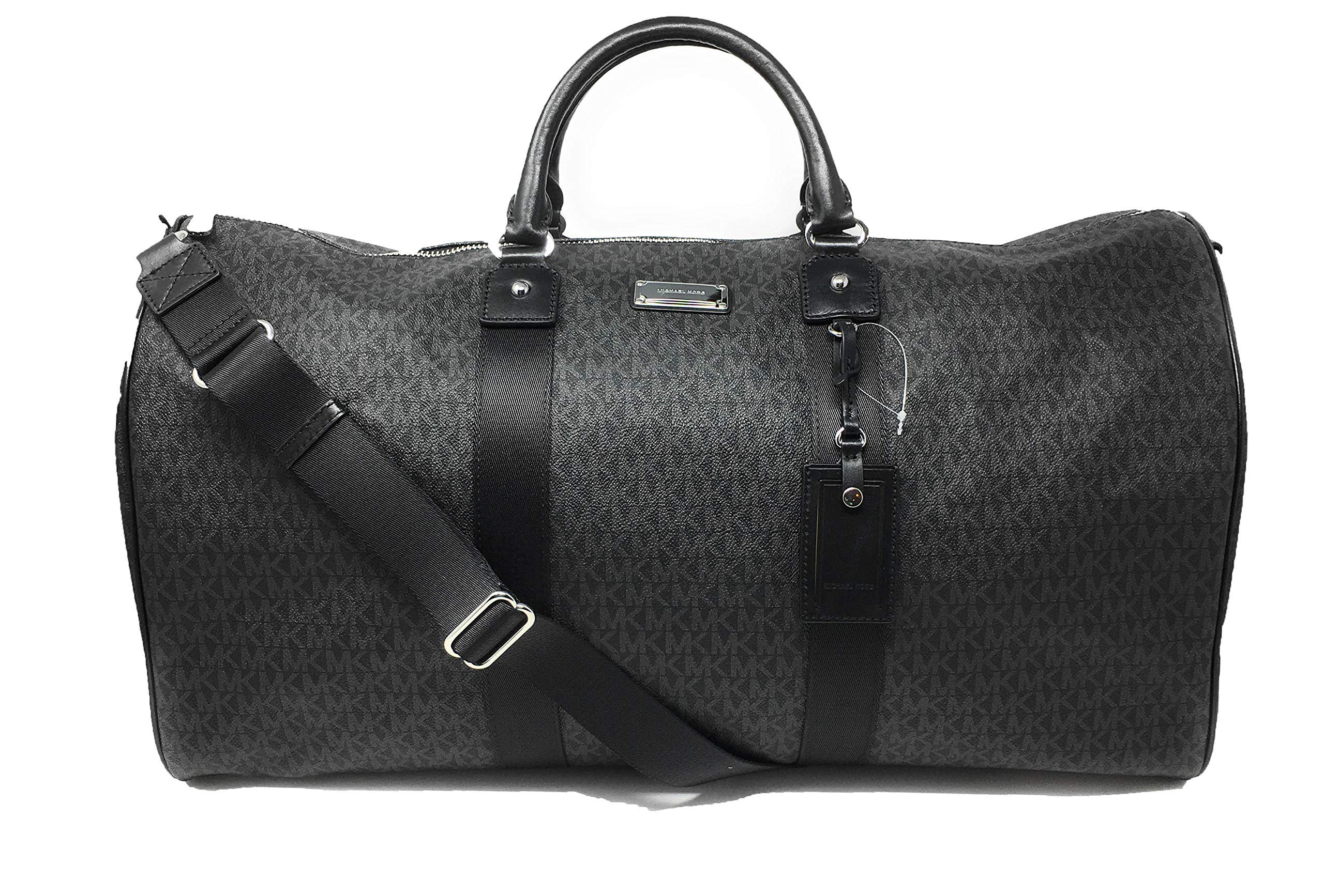 Michael Kors Michael Kors Leather PVC Travel Logo Duffle Large Bag Printed Duffel Luggage Black