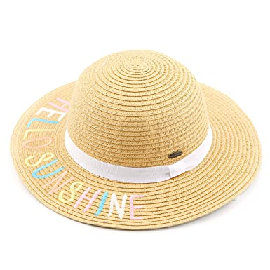 8373336c C.C Hatsandscarf Exclusives Kids Floppy Straw Embroidered Lettering Brim  Summer Beach Sun Hat (Hello Sunshine