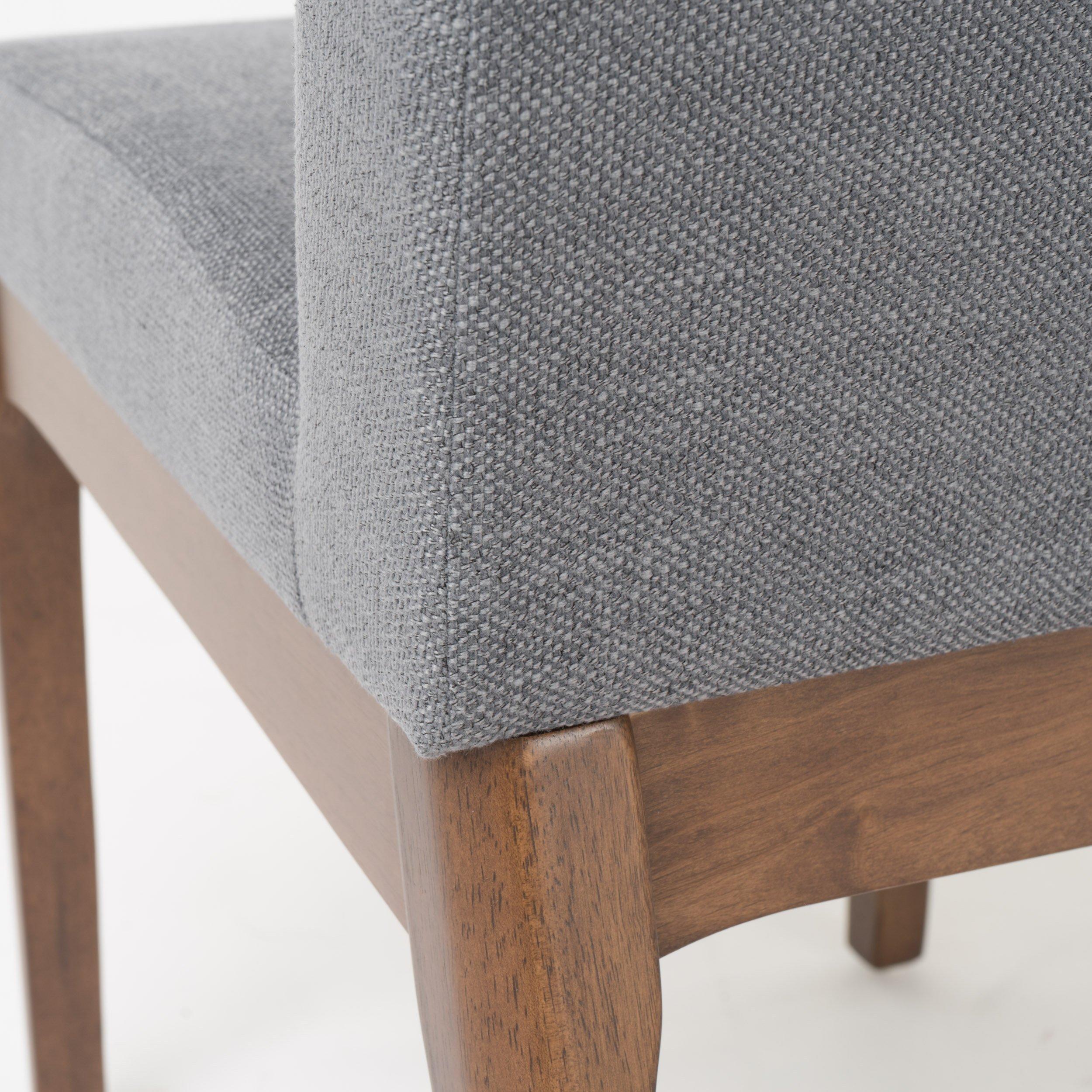 Katherine Dark Grey Fabric/Natural Walnut Finish Curved Leg Rectangular 5 Piece Mid Century Modern Dining Set by GDF Studio (Image #5)