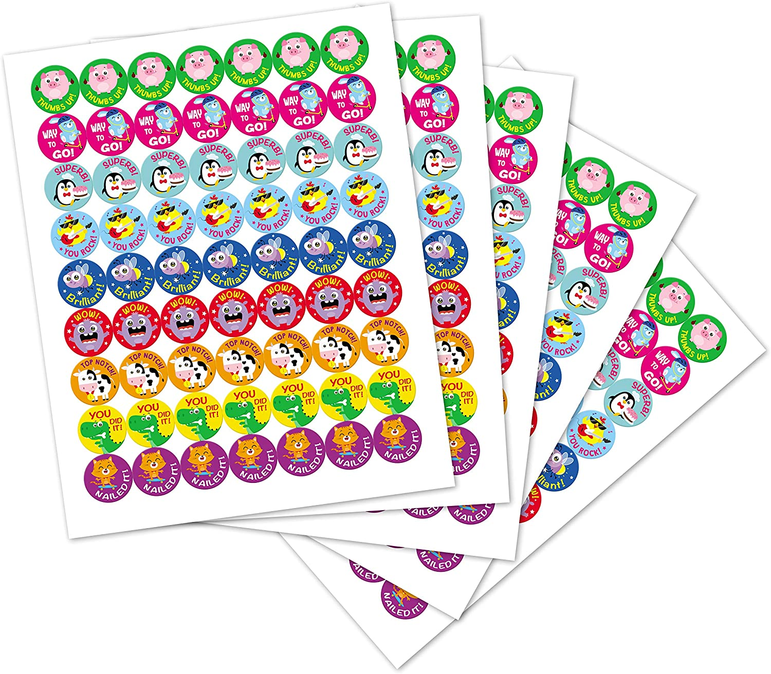 Sweetzer & Orange Reward Stickers for Teachers. 1008 Stickers for Kids in 9 Designs. 1 Inch School Stickers on Sheets. Teacher Supplies for Classroom, Potty Training Stickers, Motivational Stickers : Office Products
