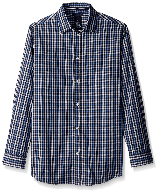 Nautica Big Boys' Long Sleeve Plaid Woven Shirt, Navy Plaid, 08