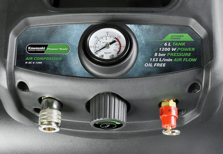 Kawasaki Kompressor /Ölfreier Motor 6 Liter Tank 180 l//min tragbar 8 Bar 1200W Luftkompressor