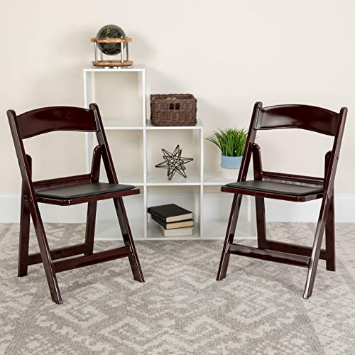 Flash Furniture 4 Pk. HERCULES Series 1000 lb. Capacity Red Mahogany Resin Folding Chair with Black Vinyl Padded Seat