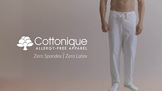 e569af4b13 Cottonique Men s Latex-Free Drawstring Lounge Pants Made from 100% Organic  Cotton (Black) at Amazon Men s Clothing store