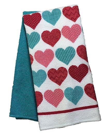 Día de San Valentín con toallas de mano Set de 2, Diseño de corazones,