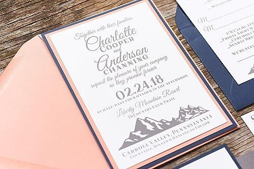 Amazon Com Personalized Mountain Wedding Invitation Card
