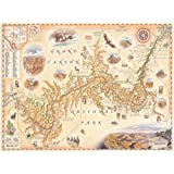 Xplorer Maps The Grand Canyon National Park Map - Authentic Hand Drawn Grand Canyon Map Art - Lithographic Fine-Art Print