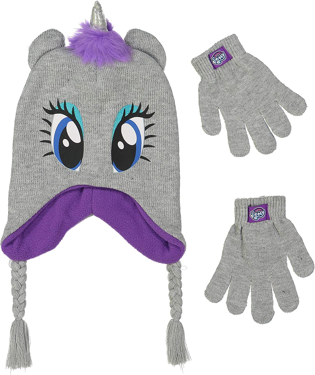 4015 Girls Knitted Animal Beanie Winter Hat and Glove Set