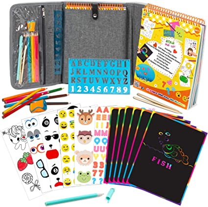 Kids Colouring Set With 8 Colouring Pencils /& Stickers Boys Girls Activity set