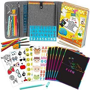 Art with smile Estuche de Actividades para niños de +3 años, Plantillas y Libro de Actividades de 60 Páginas con Pegatinas Reutilizables, Papel Multicolor, Páginas para Colorear: Amazon.es: Hogar