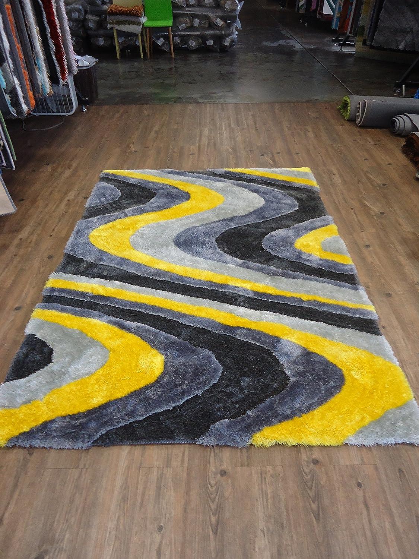 Amazon.com: RUGADDICTION Hermosa Alfombra Color Gris y Amarillo hecha a mano estilo moderno suave y lujosa , gruesa pila de tamaño 5 x 7 pies OFERTA ...