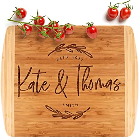 Amazon Com Personalized Cutting Board Housewarming Gift 13 5x11 5 12 Designs 2 Sizes Wedding Gifts For Couple Anniversary Gift Kitchen Sign 2 Tone Block Board G Kitchen Dining