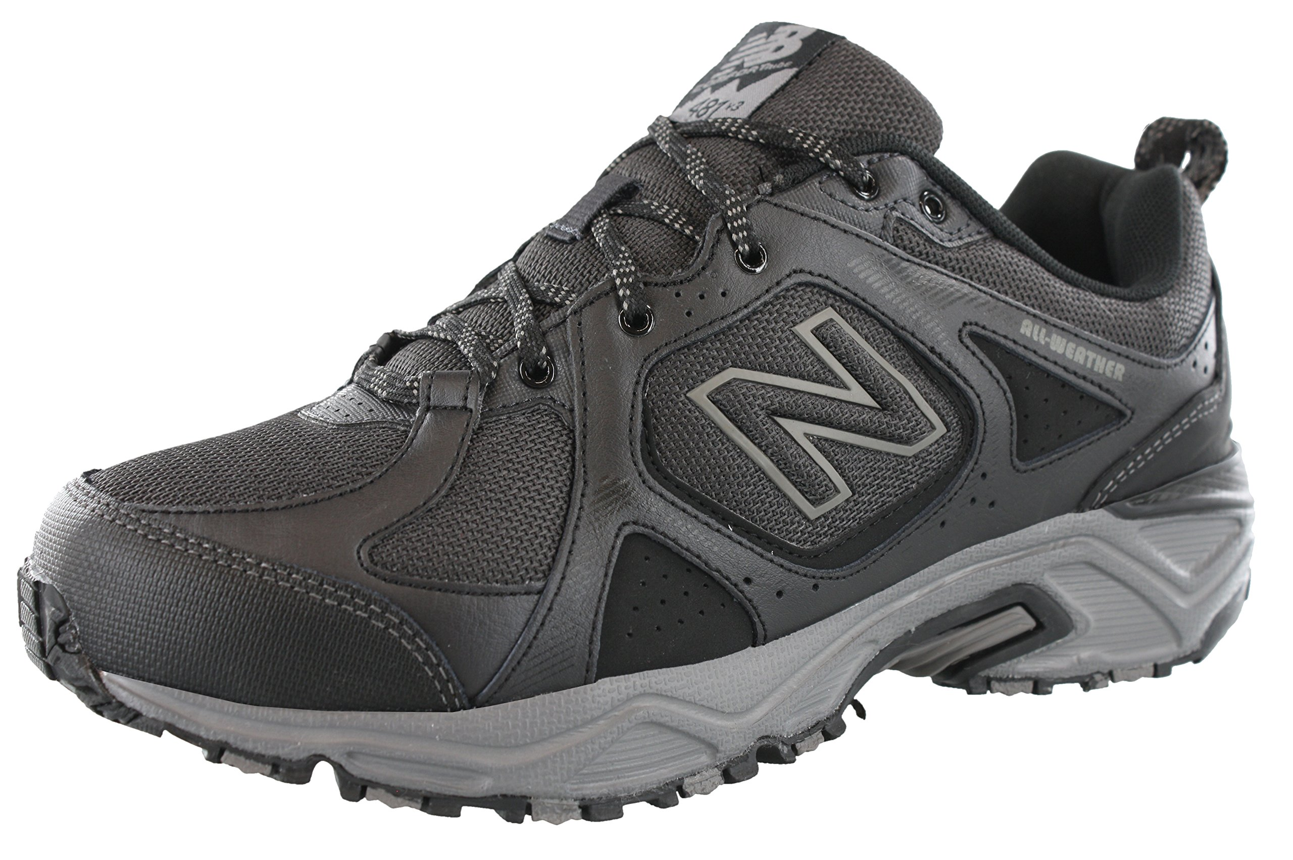 New Balance Men's 481V3 Water Resistant Cushioning Trail Running Shoe, Black/Grey, 10.5 4E US