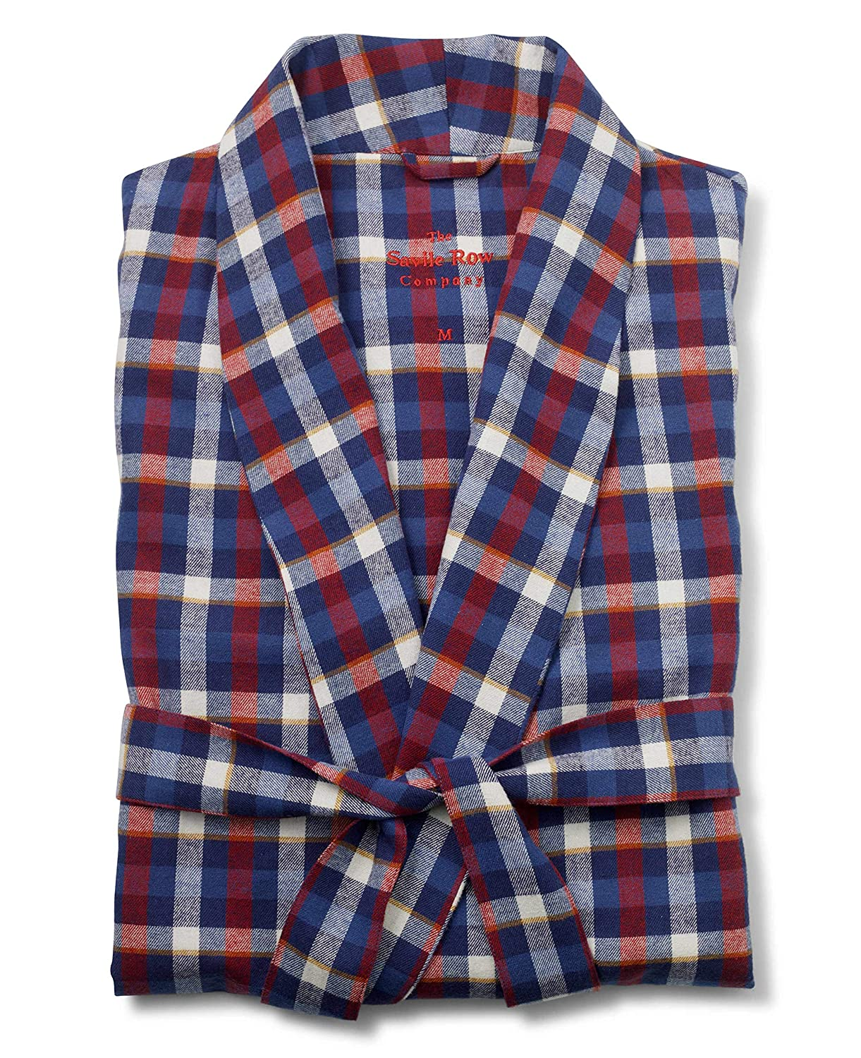Savile Row Company Men's Red Blue Tan Brushed Cotton Check Dressing Gown The Savile Row Company London