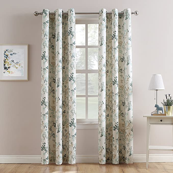 No 918 Roelyn Floral Print Casual Textured Grommet Curtain Panel 48 X 63 Harbor Blue Home Kitchen
