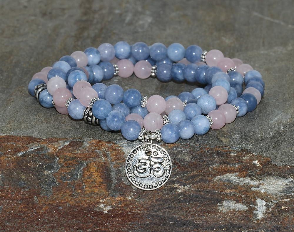 108 Genuine Strawberry Rose Quartz Mala Beads Necklace Dreams Auric-Healing Energy-balancing Throat-Chakra Astral-Travel Dream-Recall