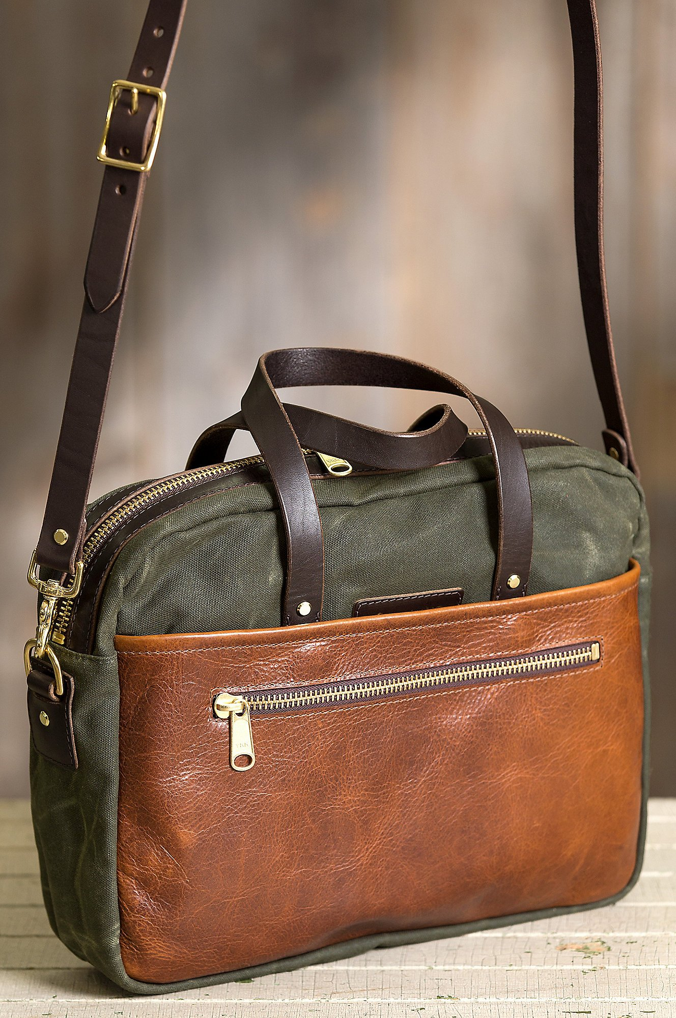 Heritage Canvas and American Bison Leather Briefcase by Overland Sheepskin Co (Image #2)