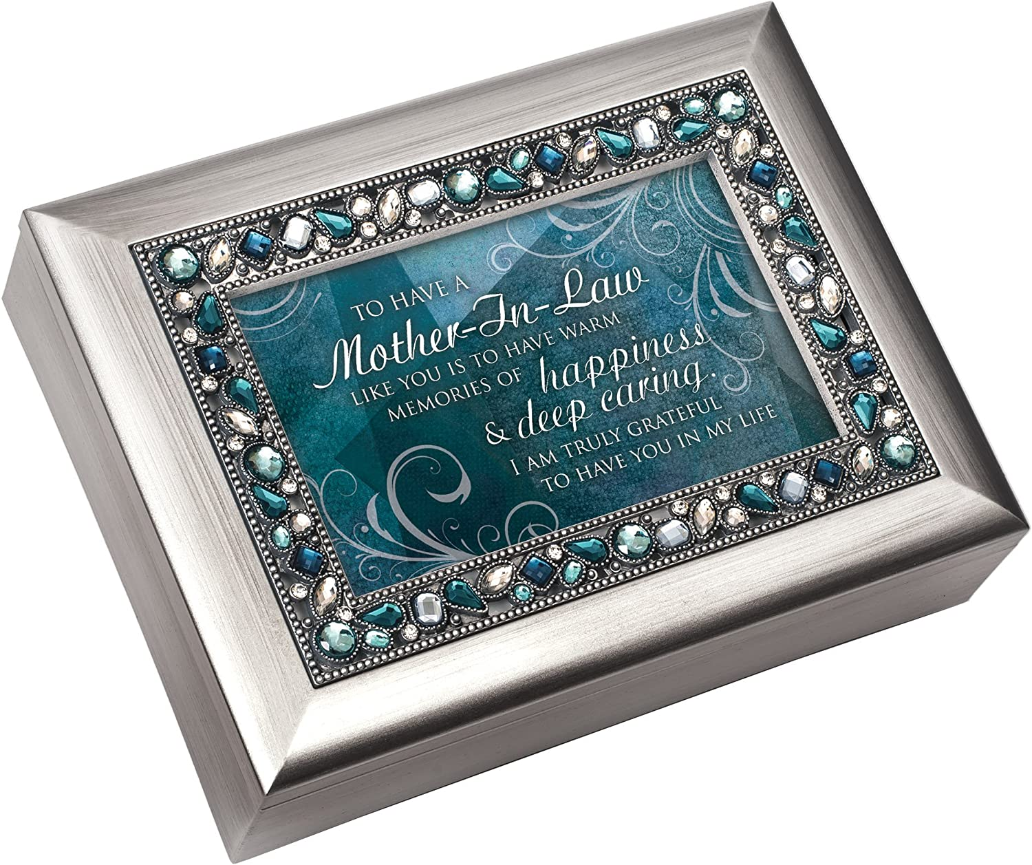 Cottage Garden Mother-in-Law Memories of Happiness Silvertone Jewelry Music Box Plays Wind Beneath My Wings