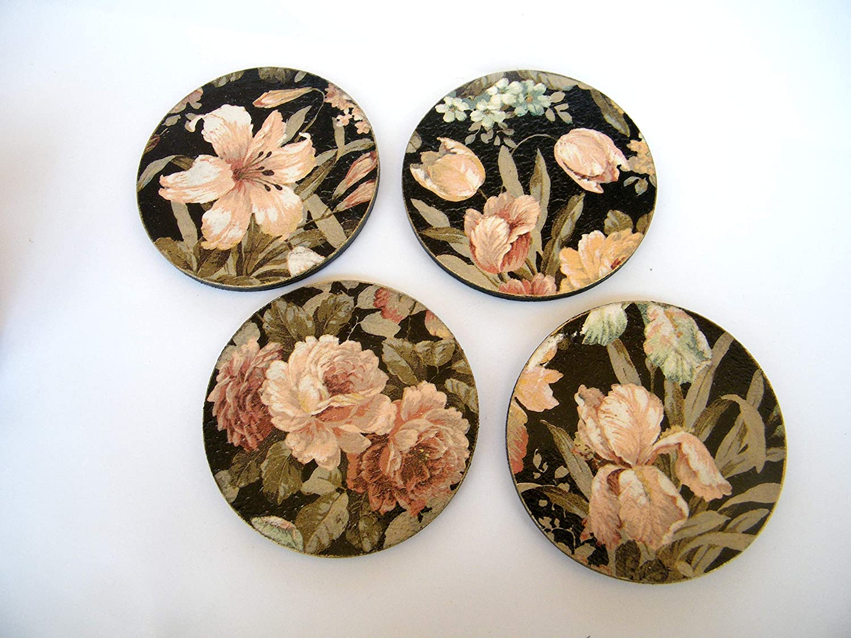 Posavasos Florales de Madera, Juego de 4 Redondos Posavasos, Salvamanteles, Protectores de Mesa, Decoración de Comedor, Coasters: Amazon.es: Handmade