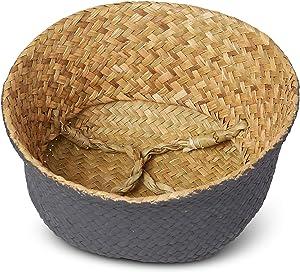 Natural Seagrass Basket - Home/Kitchen/Storage/Laundry/Organizer/Beach/Decor/Baskets - Woven Plantbasket - Beach Bag - Toy Storage - Laundry Basket - Picnic Tote - Medium Black Bottom