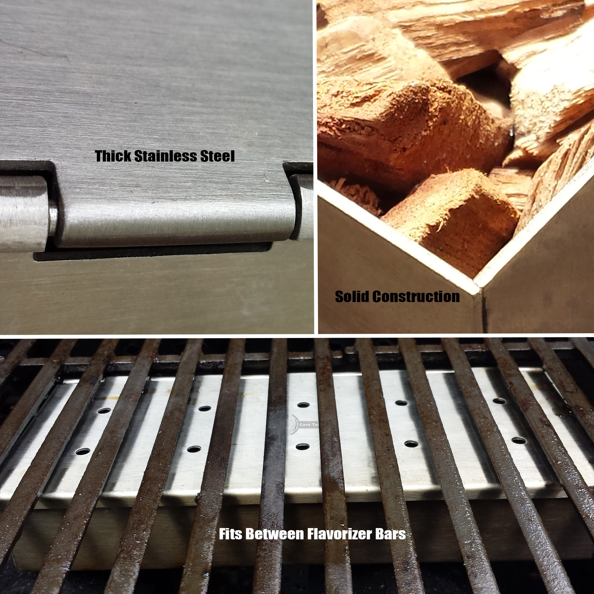 Tenderizer Mallet + Smoker Box for BBQ Grill Wood Chips - 25% Thicker Stainless Steel Won't Warp - Charcoal & Gas Barbecue Meat Smoking Hinged Lid - Grilling Accessories Gift for Dad by Cave Tools (Image #3)