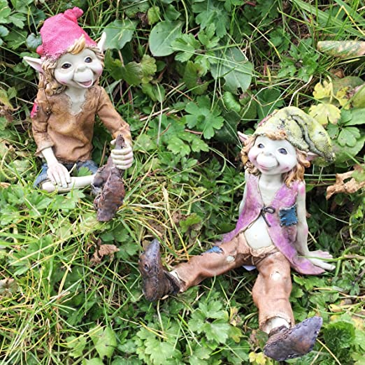 Set de 2 duendes sentados, esculturas mágicas misteriosas, figuras decorativas para jardín de alta calidad, elfos y hadas, altura: 12 cm: Amazon.es: Jardín