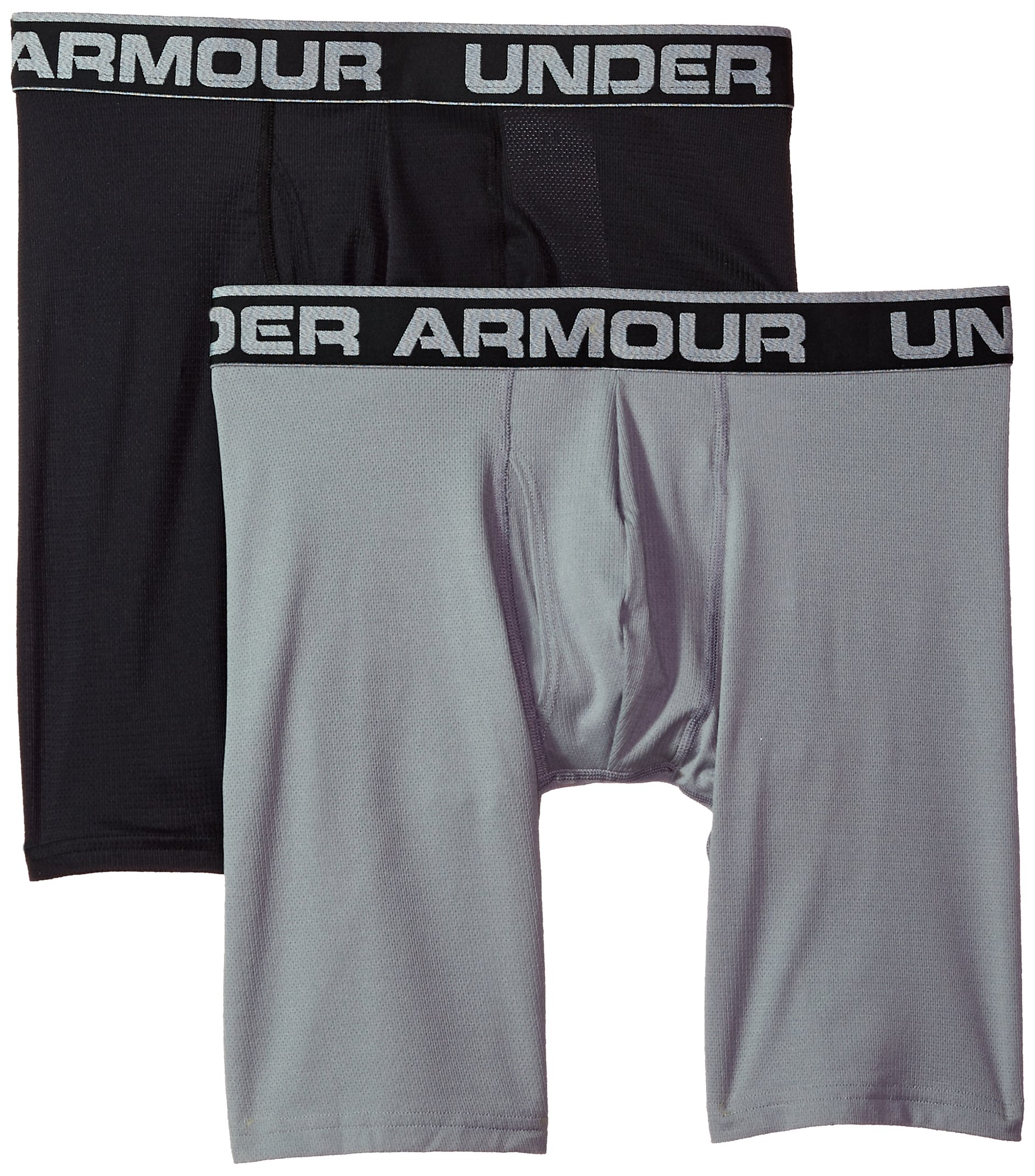 Under Armour Men's Tech Mesh 9'' Boxerjock - 2-Pack, Black (001), Large by Under Armour