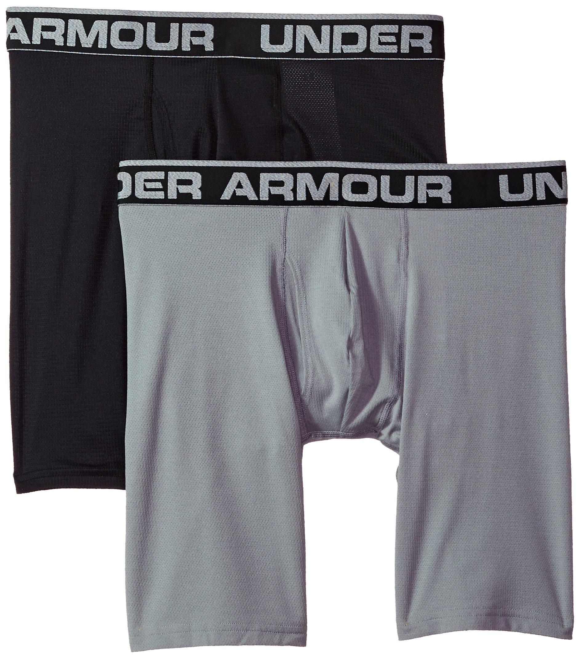 Under Armour Men's Tech Mesh 9'' Boxerjock – 2-Pack, Black (001), Medium