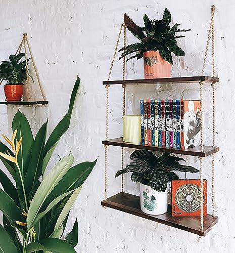ASLINY – Hanging Shelf Wall – Floating Swing Storage Shelves Jute Rope Organizer Rack, 3 Tier Handmade Shelves Brown