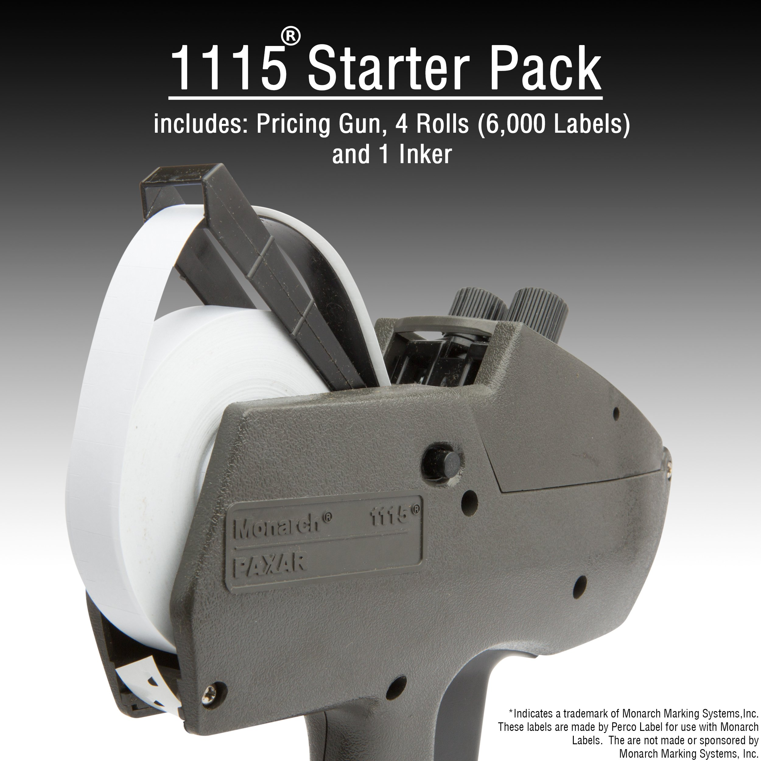 Monarch 1115 Price Gun with Labels Starter Kit: Includes Price Gun, 6,000 White Pricing Labels, Inker and Label Scraper by Perco (Image #2)