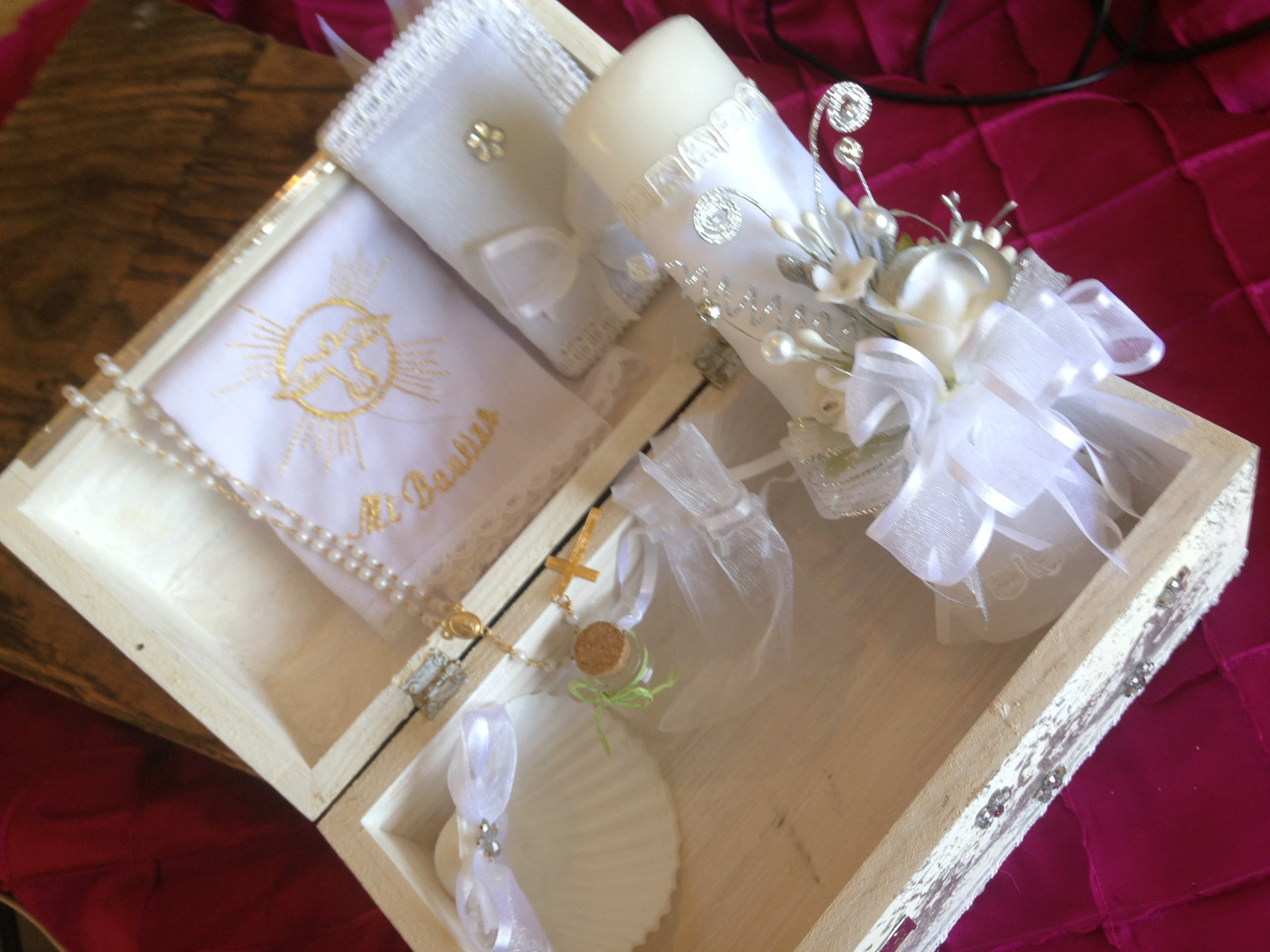 Baptism Candle Set Off White Hand Made Wooden Chest with Virgen De Guadalupe/ Vela Para Bautizo/vela Para Bautismo by hand made (Image #2)