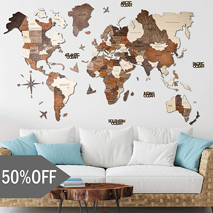Top 9 World Map Art Wall Decor Large