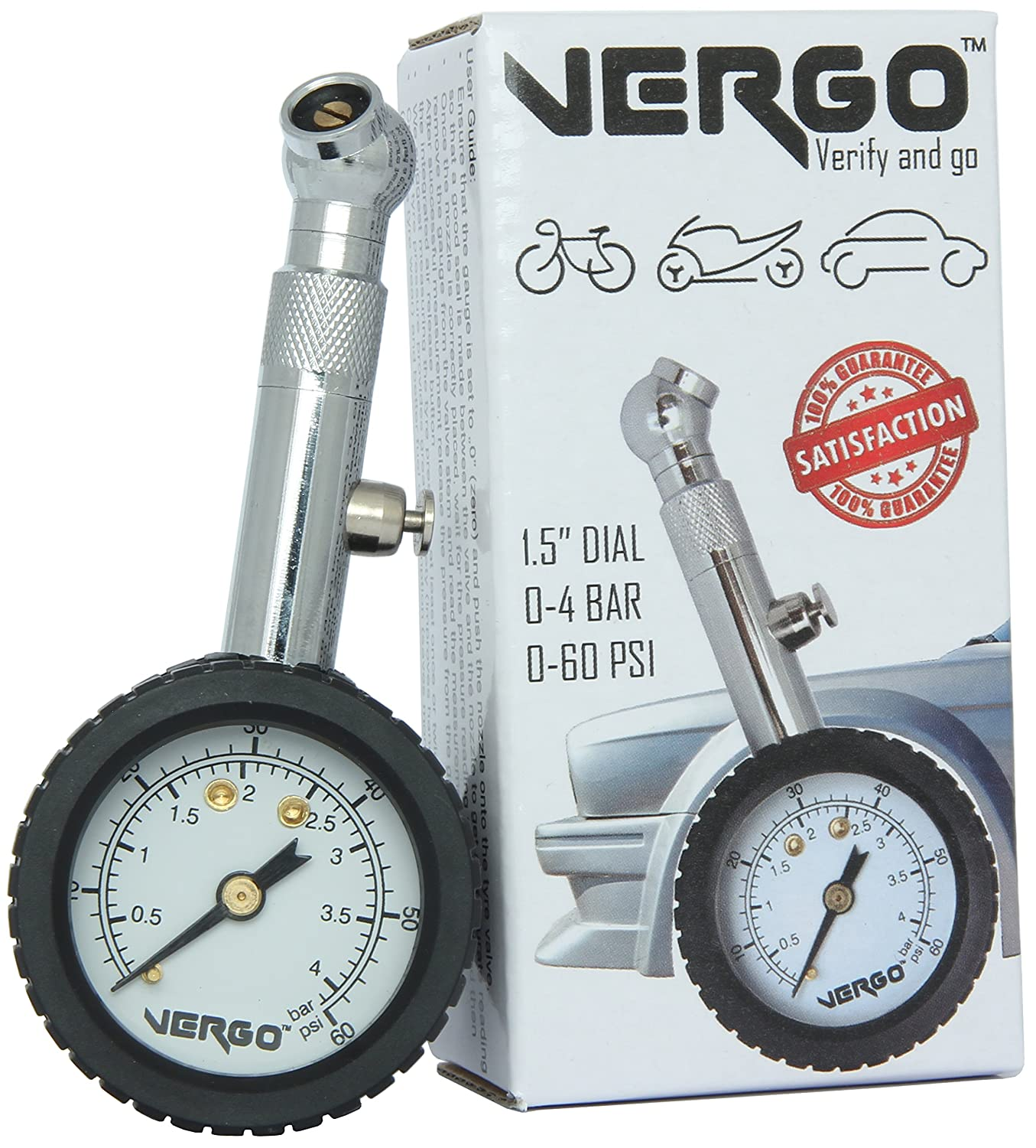 VERGO Tyre Pressure Gauge Pressure Hold /& Reset Button-Car Heavy Duty Dual Scale 0-60 PSI// 0-4 BAR 1.5 inch diameter head 360/° Adjustable Swivel Motorbike-Easy to Use-No Batteries Required