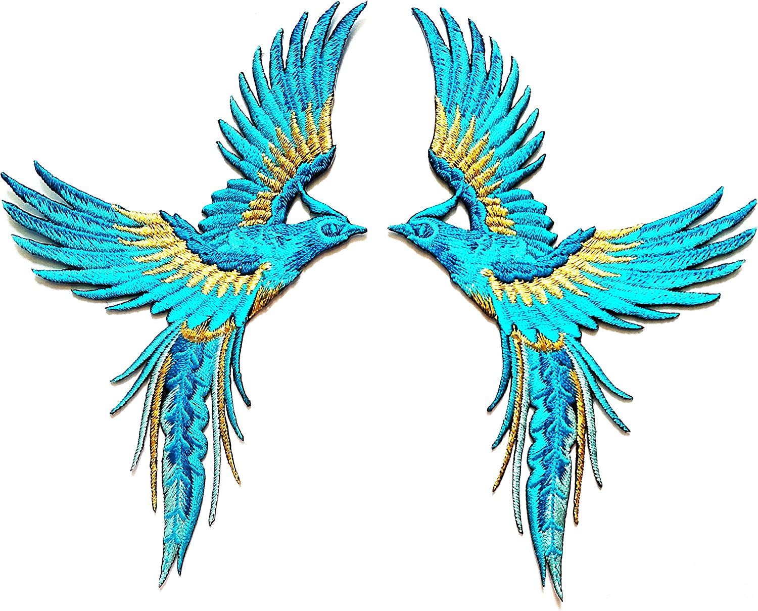 Nipitshop Patches Phoenix Phenix Birds Sky Blue Sapphire Gold Embroidered Appliques Iron-on Patches for Clothes Backpacks T-Shirt Jeans Skirt Vests Scarf Hat Bag