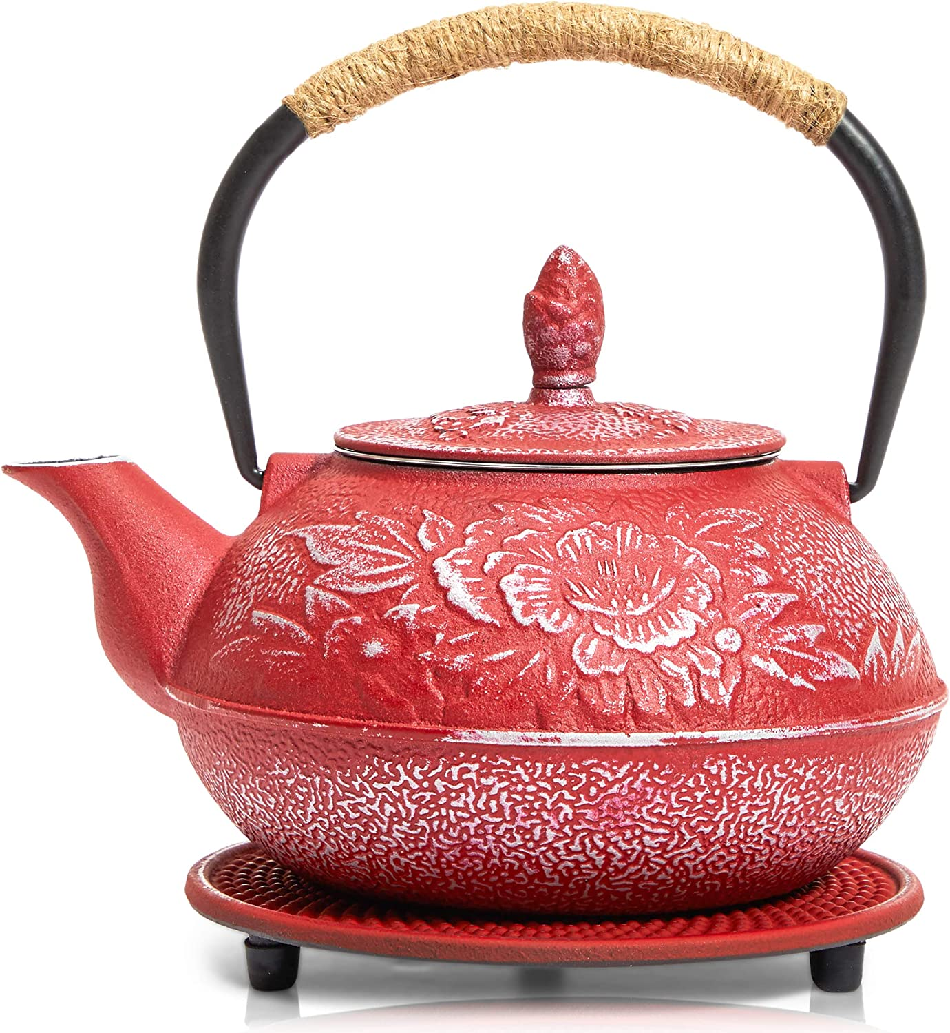 Red Cast Iron Japanese Teapot with Handle, Infuser, and Trivet (800 ml, 27 oz)