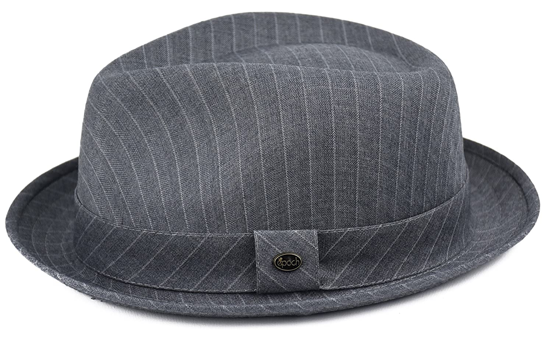 80603030 Mens Summer Fedora Hat, Porkpie Stingy Brim, Light Weight Dress Hat  (Pinstripe-Gray, S/M) at Amazon Men's Clothing store: