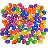 100 Toy Filled Hinged Bright Easter Eggs, Measure 2.5 Inches; Toys Include Vinyl Smile-face Bunny Necklace, Bunny Teeth Whistle, Mini Porcupine Ball, Easter Yo-yo, Easter Spin Top, or Easter Stretchy Flinger.