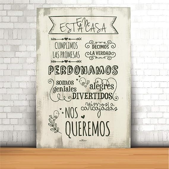 Enkolor/Cuadro Madera/Frases positivas/Normas de la casa/Artesanal/Blanco/40X60cm