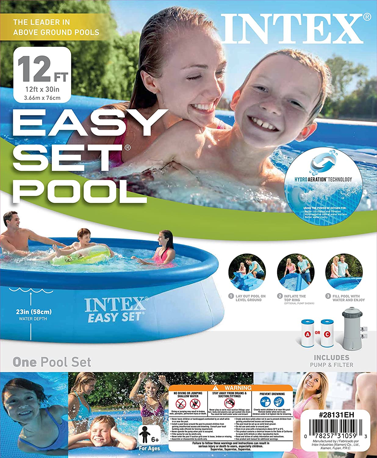 Filter Pump /& Krill Automatic Vacuum Intex 12 x 30 Easy Set Above Ground Pool