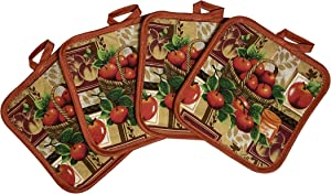 Set of Four Pot Holders for Kitchen (Apples)