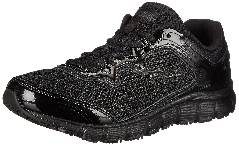 Fila Women's Memory Fresh Start Slip Resistant Work Shoe B0107LZJ6G 6.5 B(M) US|Black/Black/Metallic Silver