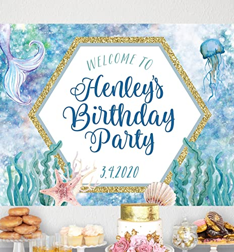 Amazon Com Mermaid Birthday Backdrop Banner For Party Decor