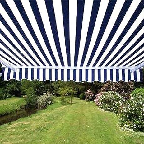 ALEKO 12x10 Feet Retractable Patio Awning BLUE WHITE STRAP 35m X 3m