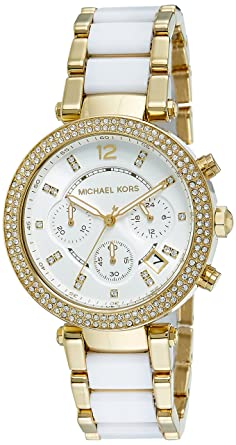 Amazon.com  Michael Kors Women s Parker White Watch MK6119  Michael ... 666c4d8cad