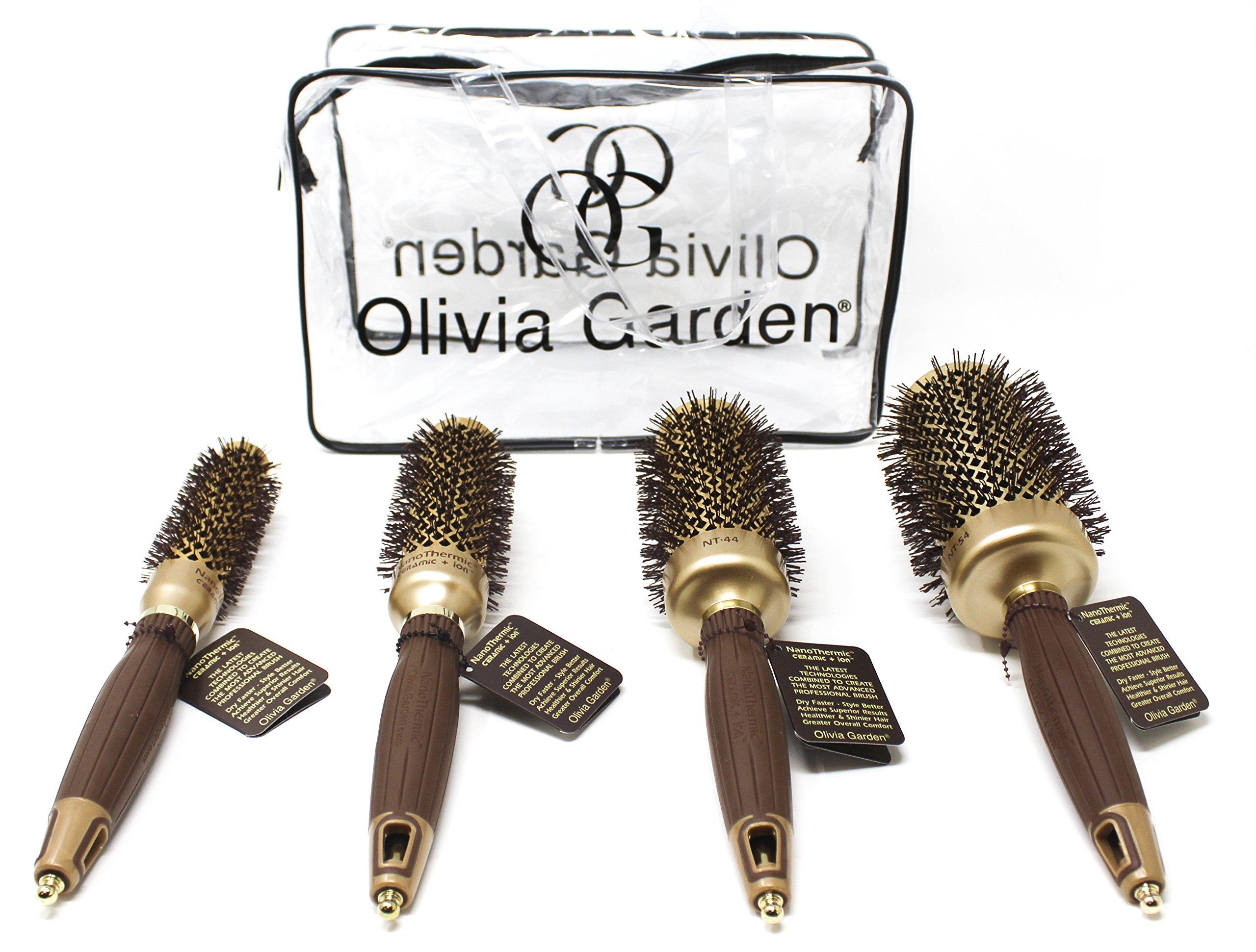 Olivia Garden NanoThermic Ceramic Ionic Round Thermal 4 Brushes Kit by Olivia Garden